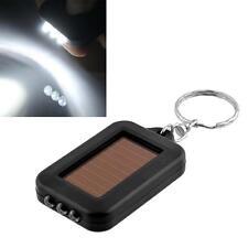 Mini Solar Power Rechargeable 3 LED Flashlight Keychain Light Lamp Torch BlackIP
