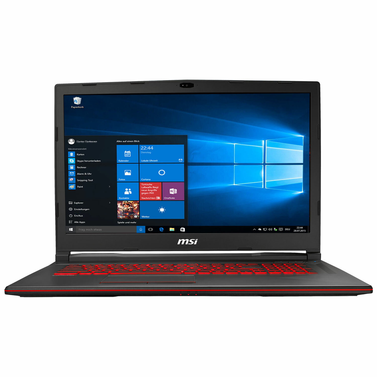 Notebook MSI Gaming GL73 Core i7-8750 - 16GB - GTX 1060 256GB SSD + 1TB - WIN 10