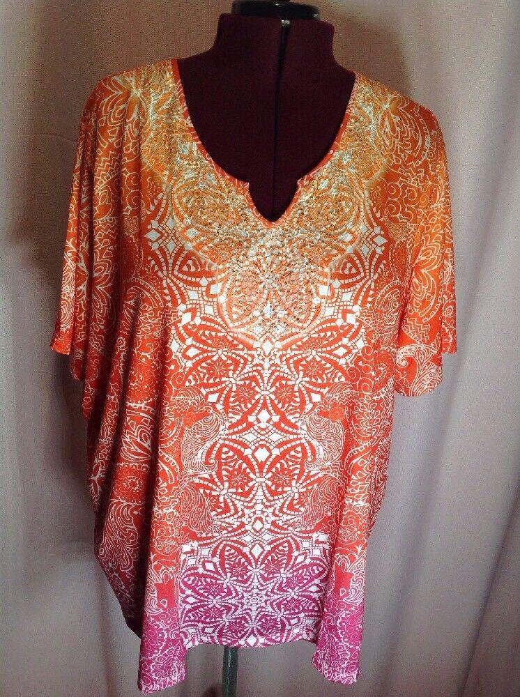 NWT -Catherine's 4X Woherren Plus Größe Blouse Career Shirt Top Orange to Rosa I27
