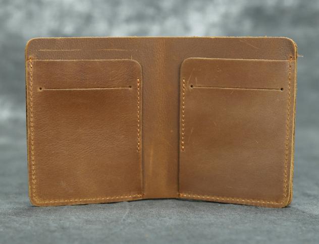 men women wallet purse handmade cow Leather Card Case ID bifold bag brown H1-1