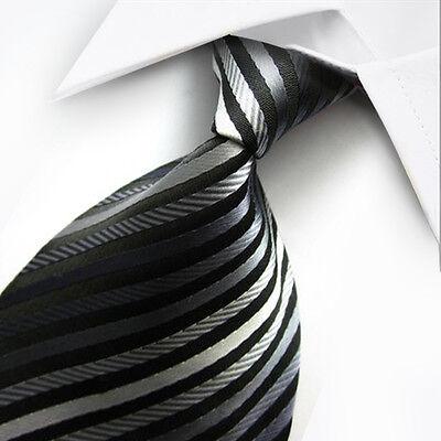 UK1008 Grey Black Striped New Silk Classic JACQUARD Woven Men's Tie Necktie
