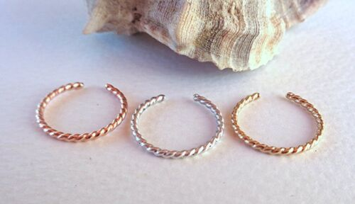 Toe-Midi-Knuckle Twisted Ring Stackable Minimal Open Band Adjustable size