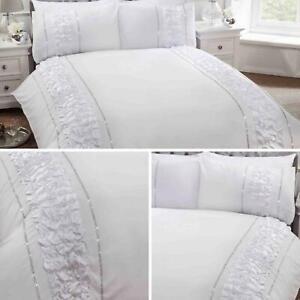 Blanco-Fundas-nordicas-Provence-Sparkle-Bling-Diamante-cubierta-del-edredon-conjuntos-de-cama