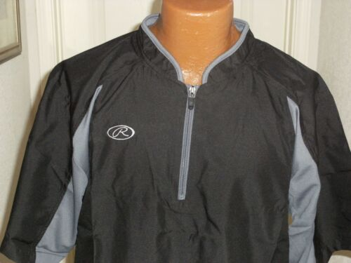 Black and Gray Rawlings Adult/'s Short Sleeve Batting Cage Jacket Color