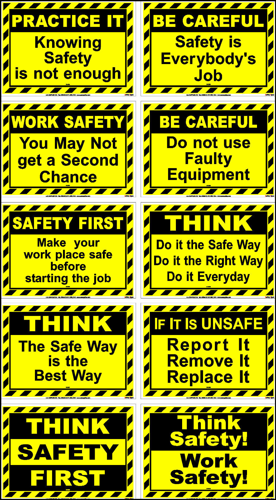 Health Safety Sticker Signs Warning Caution On Site Industrial Protection Slogan