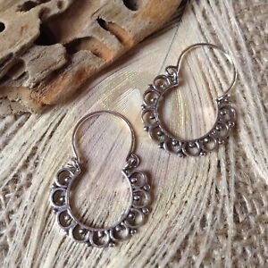 Image Is Loading Sterling Silver Tribal Gypsy Indian Hoop Earrings Small
