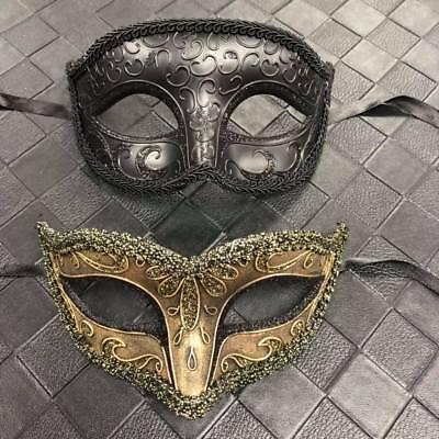 1 X Uomo Maschera (nero) & 1 X Donna (oro Soft) Couple Festa In