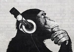 Banksy Scimmia Con Cuffie Graffiti Street Wall Art Poster Stampa ...