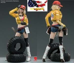 1//6 Scale Star Man Action Figures Yellow Leather Jacket Female Auto Mechanic
