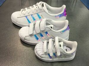 1271e8138985 Image is loading Adidas-Superstar-Classic-White-Hologram-Iridescent-AQ6278- KIDS-