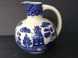 Vintage-Asian-Porcelain-Vase-Pitcher-Cobalt-Blue-and-White-Design