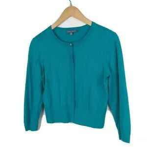 Laura-Ashley-Emerald-Green-Cropped-Cardigan-Size-10-Cotton-Cashmere-Thin-Knit