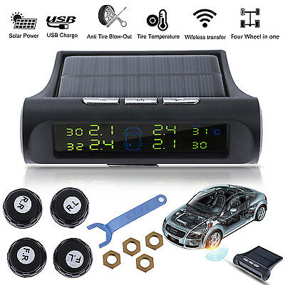 Car Wireless TPMS Tire Pressure LCD Monitor System 4 Sensor Solar Power Charging