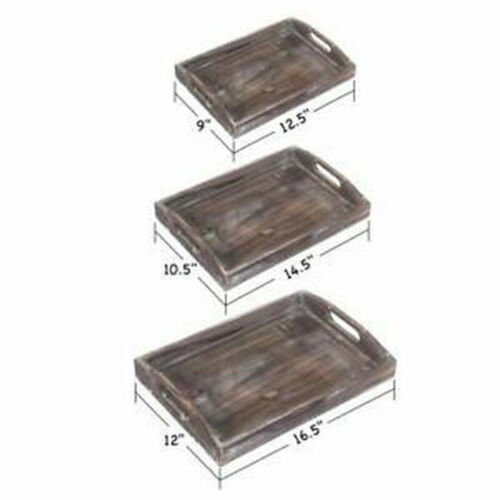 Hot Sale Set of 3 Serving Trays Rustic Trays Wood Nesting Tray Cutout Handles
