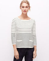 Ann Taylor - Blue Or Cream Striped Welt Pocket Sweater Top $89.50 (d11)