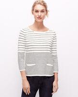 Ann Taylor - Blue Or Cream Striped Welt Pocket Sweater Top $89.50 (d11)