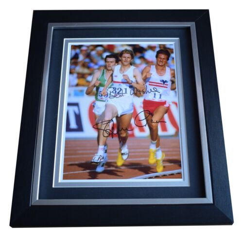 Steve Cram SIGNED 10x8 FRAMED Photo Autograph Display Olympic 1500 metres COA