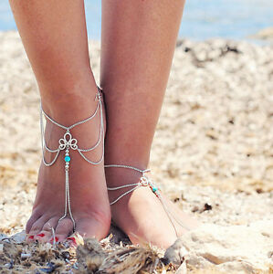 2Pcs-Fashion-Sexy-Silver-Anklet-Chain-Ankle-Bracelets-Foot-arefoot-Sandal