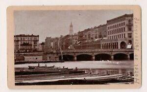 Vintage-CDV-Cityscape-Wharf-Scene-amp-Hotel-Petersburg-Hamburg-Germany-Boats