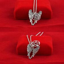 Lang Halskette mit Engelsflügel Pentagramm Anhänger Unisex Amulett Schmucksachen