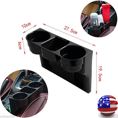 Black 2 Cup Holder Drink Beverage Seat Seam wedge Car Auto Truck Mount US Stock