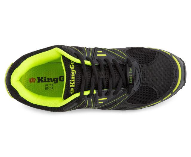 KingGee Men/'s Steel Toe Cap Work Safety Shoe Aus//uk Size 8 Black /& Lime for sale online