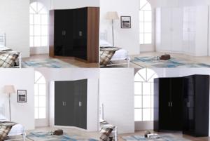 Details about 2 Pc High Gloss Bedroom Furniture Set 4 Door = Corner  Wardrobe + 2 Door Wardrobe
