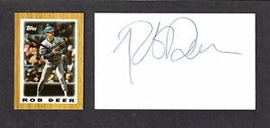 Rob Deer ( Debut 1984 )  SF MILW DET BOST SD SIGNED AUTOGRAPH AUTO 3x5 INDEX COA