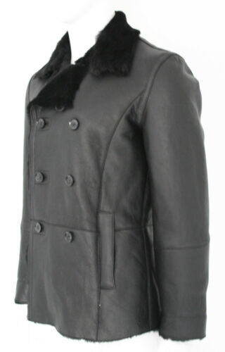 Fleece Sheepskin Jacket Leather Black Reefer Shearling Cortino Coat Fur Mens 6xOXnaE