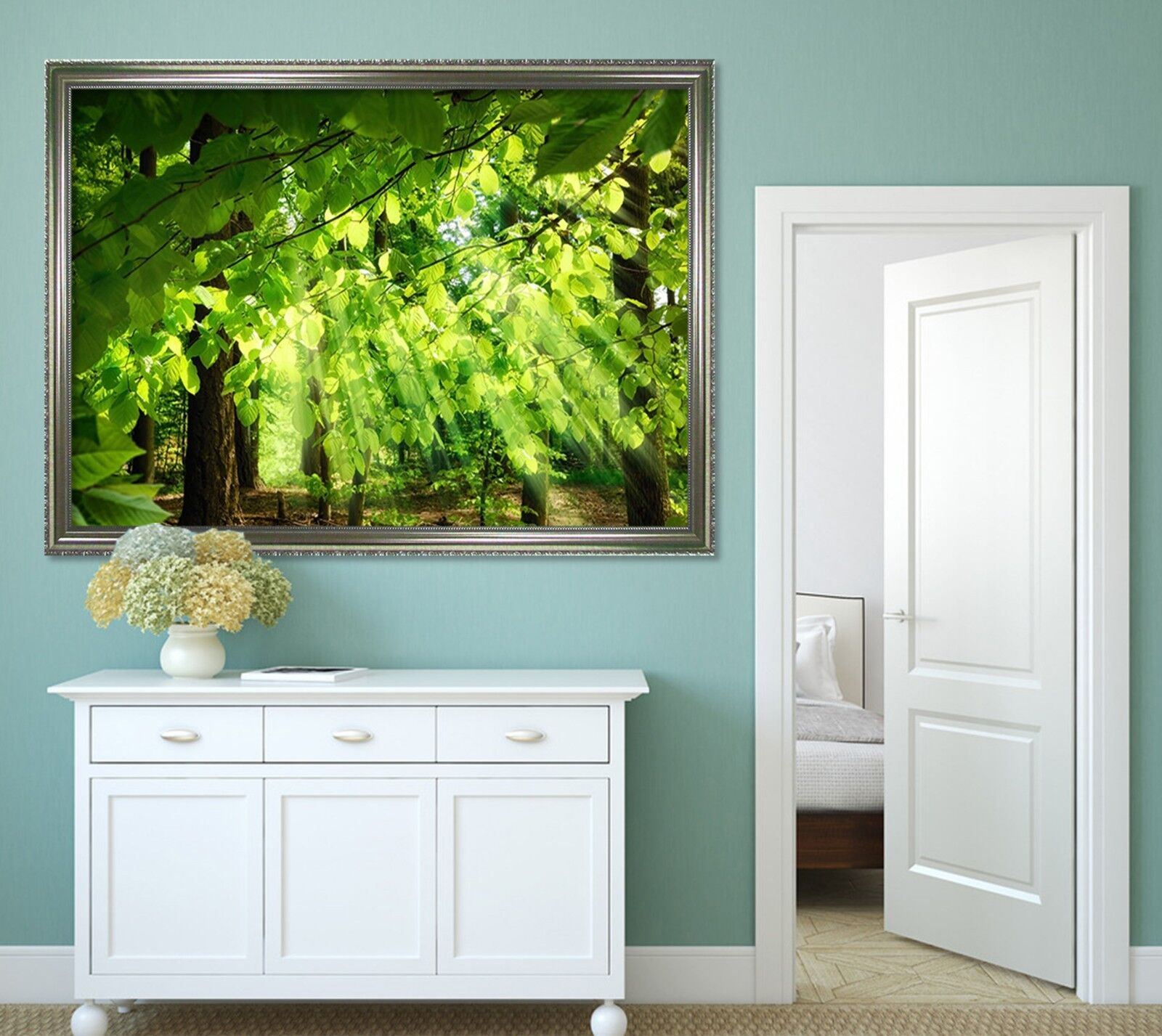 3D la luz del sol verde hoja 2 Enmarcado Póster Decoración del Hogar Pintura de Impresión Arte Wallpaper