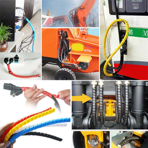 1m 10mm//14mm Spiral Wire Organizer Wrap Tube Flame retardant Cable Casing SEAU