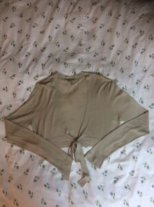 Luxurious-NOCTURNE-silk-Cotton-Beige-Short-Cardigan-size-14-Chest-42-Tried-Once