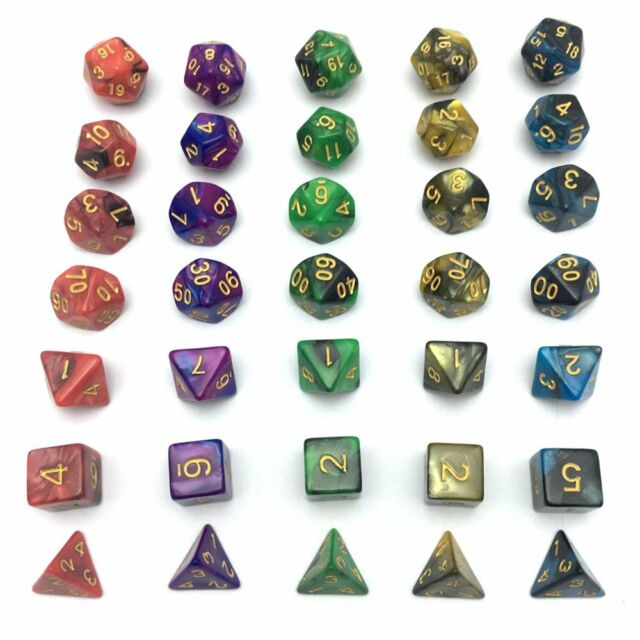 Smartdealspro 5 x 7-Die Series 5 Colors Marble Dungeons and Dragons DND RPG MTG Table Games Dice with Free Pouches SDD530113