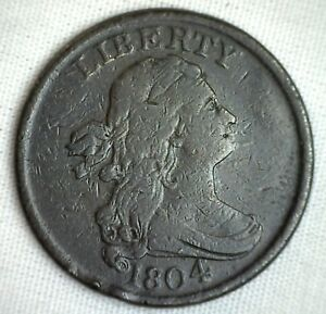 1804-1-2C-Draped-Bust-Half-Cent-Copper-Coin-Spiked-Chin-Variety-Very-Fine-M2-VF