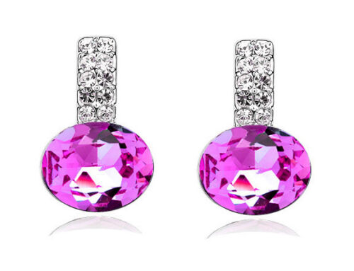 Rose Pink Crystal with White Rhinestones Stud Round Earrings E824
