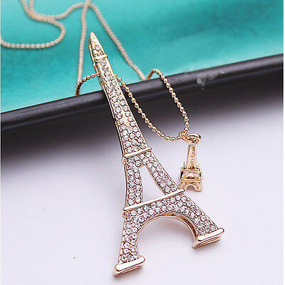 Crystal Gold Plated Double Eiffel Tower Pendant Necklace Long Sweater  Chain