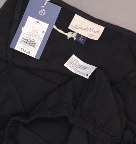 NWT Universal Thread Cotton Square Neck Tank Top Shirt Blouse Black