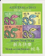 Aitutaki - Postfris / MNH - Sheet Year of the Snake 2013