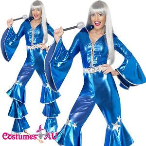 Ladies-Dancing-Queen-60s-70s-Costume-Retro-Hippie-Tribute-Jumpsuit-Fancy-Dress