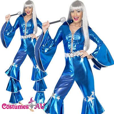 Ladies Dancing Queen 60s 70s Costume Retro Hippie Tribute Jumpsuit Fancy Dress