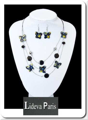Set cadena aretes collar schmuckset Paris madreperla//abalorios mariposa