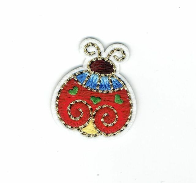 Iron On Embroidered Applique Patch - Gold Detail - Bugs - Ladybug