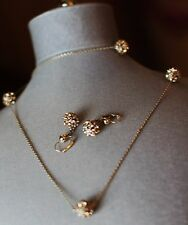 Kate Spade lady marmalade CRYSTAL disco ball pave earrings & necklace LONG SET