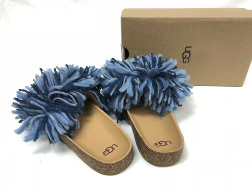 bc12c98e132 UGG AUSTRALIA CINDI YARN FRINGE CORK SOLE SLIDE SANDALS Dark Denim Blue  1020079
