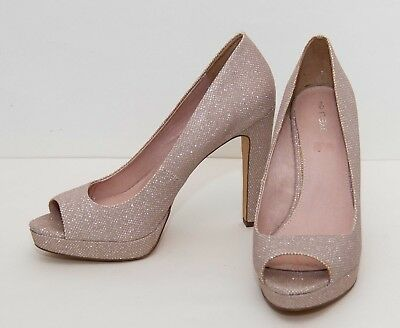 Sparkly silver glitter nude high heel