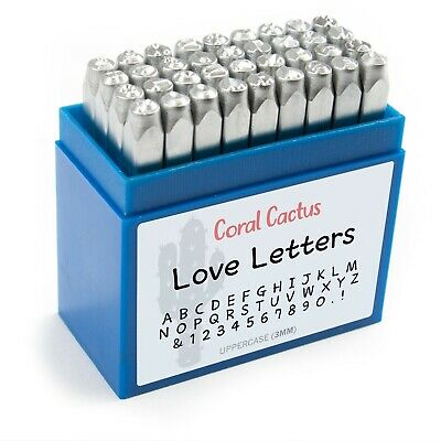 36Pcs 3mm 1//8inch Uppercase Alphabet Number Steel Stamp Punch Set with Case