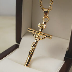 18ct 18k gold plated jesus inri crucifix cross pendant 24 chain image is loading 18ct 18k gold plated jesus inri crucifix cross aloadofball