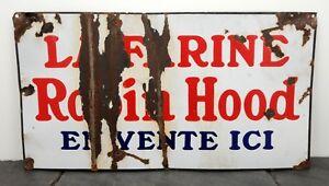 1940-039-s-Robin-Hood-Flour-HTF-Heavy-Porcelain-Sign-15-034-x-28-034-French-Canadian