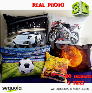3D-Decorative-Pillowcases-Sport-Cars-Motorbike-Animals-Football-etc-3-sizes