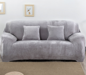 Image Is Loading Easy Fit 1 4 Seat Thick Velvet Sofa